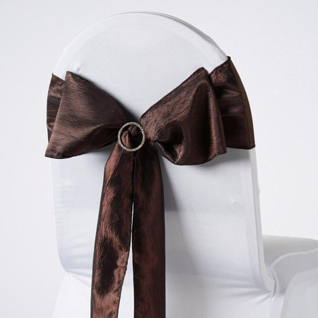 Crinkle Tie (5pcs Chocolate Taffeta Crinkle Chair Sashes Tie Bows Catering -)