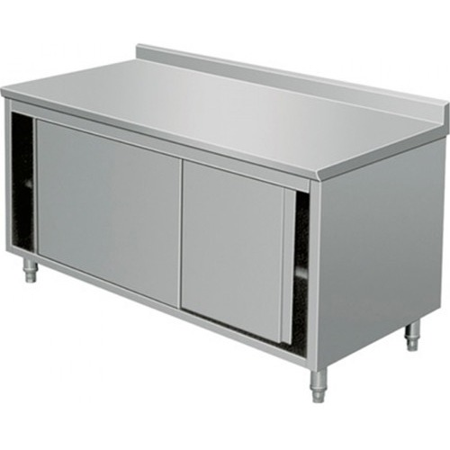 "EQ Kitchen Line Stainless Steel Prep Work Table Storage Cabinet with Door 48""Lx28""Wx38""H"