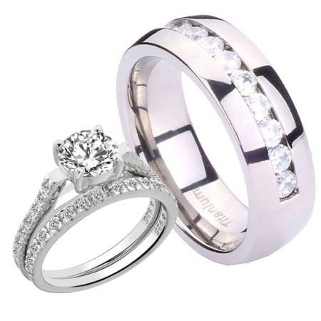 Matching Wedding Rings For Bride And Groom.His Hers 3 Pcs Matching Set 1 7ct Silver 925 Round Cz Eternity Titnaium Cz Wedding Ring Set