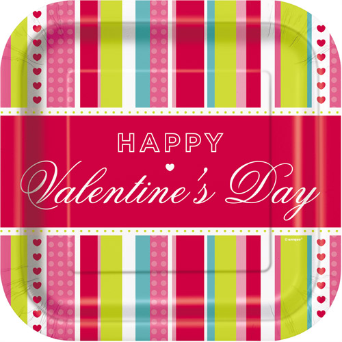 """9"""" Valentine's Day Striped Heart Paper Dinner Plates, 8ct"""