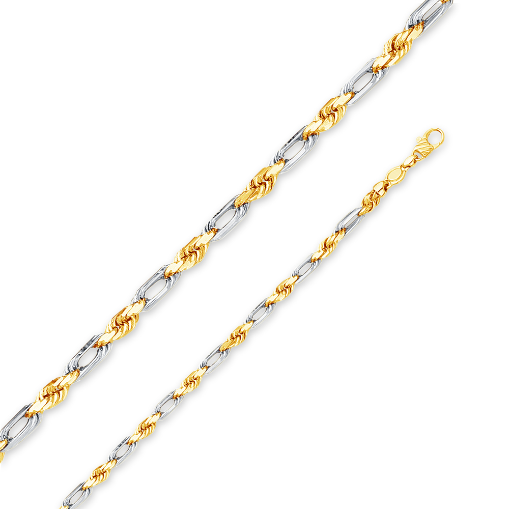 """14k Two Tone Yellow and White Gold Solid 5mm Figarope Chain Necklace 22"""" by AA Jewels"""