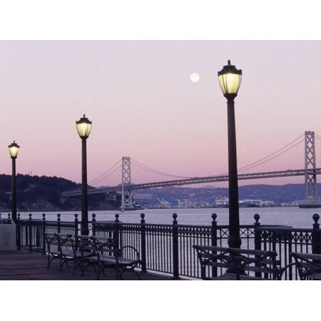 Street Lamps with Bridge in the Background Print Wall Art By Robin Allen