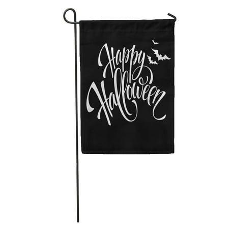 LADDKE Gray Text Happy Halloween Message Pumpkin Party White Black Night Garden Flag Decorative Flag House Banner 12x18 inch](Halloween Messages)