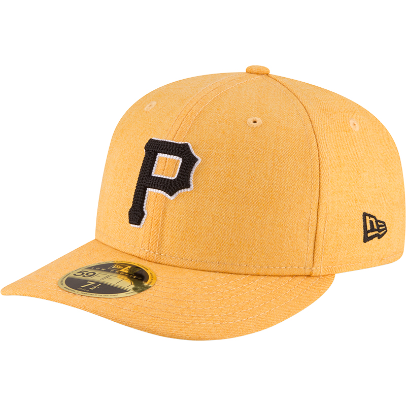 Pittsburgh Pirates New Era Crisp Low Profile 59FIFTY Fitted Hat - Heathered Gold