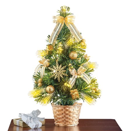 Battery Powered Tabletop Christmas Tree, Lit Gold, Gold