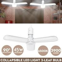 Universal 45W LED Garage Lights Foldable Bulb 3 Adjustable Fan Blades Deformable Garage Light Panels Shop Lights LED Light Bulb for Garage Basement Workshop