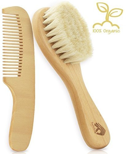 3-Piece Baby Hair Brush and Comb Set Safe and Gentle Silicon Bath Brush Mitt for Newborns and Toddlers Natural Wooden Handle with Soft Bristles