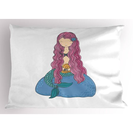 Mermaid Pillow Sham Sweet Mythological Girl with a Shell and Long Pink Hair Fantastic Sea Character, Decorative Standard Queen Size Printed Pillowcase, 30 X 20 Inches, Multicolor, by Ambesonne ()