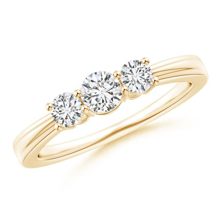 April Birthstone Ring - Step-Edged Three Stone Diamond Tapered Ring in 14K Yellow Gold (4mm Diamond) - SR1713D-YG-HSI2-4-9.5