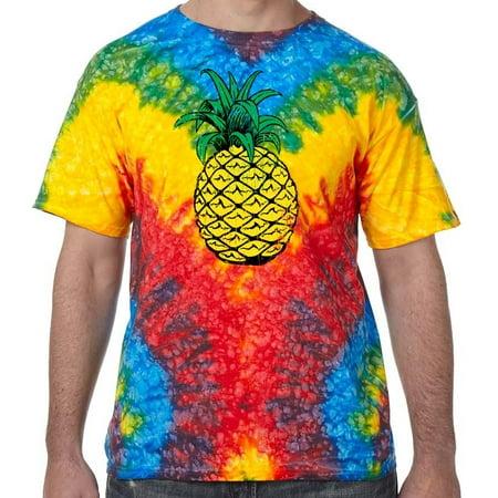 Distressed Pineapple Psychedelic Tie Dye Tee Shirt - Woodstock, (Pineapple Tee)