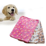 Lovely Paw Print Pet Dog Cat Soft Warm Bed Doggy Sleep Blanket Mat (White 76*52cm )