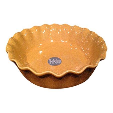 Euro Ceramica Baking Dishes, Mustard, Round wavy 10in dia pie dish, mustard color By Euro Ceramica Inc - Mustard Pie Clearance