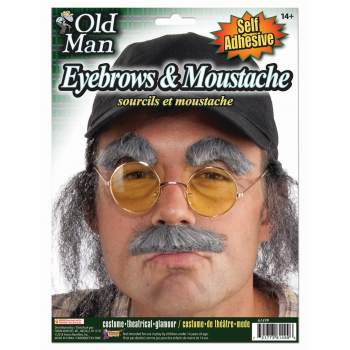 OLD MAN EYEBROWS AND MOUSTACHE 12 PACK (Costume Eyebrows)