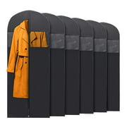 PLX 6x Long Black Garment Bags for Storage and Travel – 60 Inch Hanging Suit Bag for Coats and Dresses
