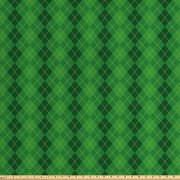 Irish Fabric by The Yard, Antique Tartan Inspired Symmetrical Checkered Diamond Line Plaid Fashion, Decorative Fabric for Upholstery and Home Accents, by Ambesonne