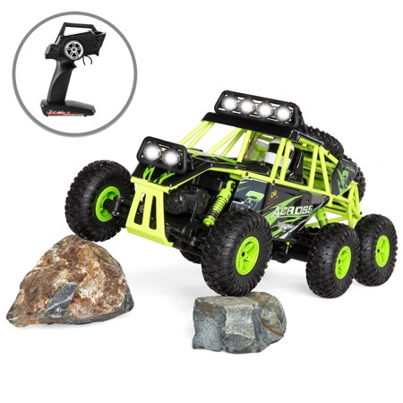 Best Choice Products 1/24 Scale Kids 6.2MPH Remote Control Off Road Cross Country 6-Wheel All Terrain Crawler Buggy Rock Climber Toy Truck w/ Spring Shocks, Lights, Rechargeable Battery -