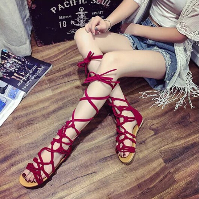 Strappy Gladiator Sandals, Coxeer Lace Up Wrap Sandals Suede Knotted Peep Toe Flat Summer Beach Shoes for Women Ladies Girls(Red)