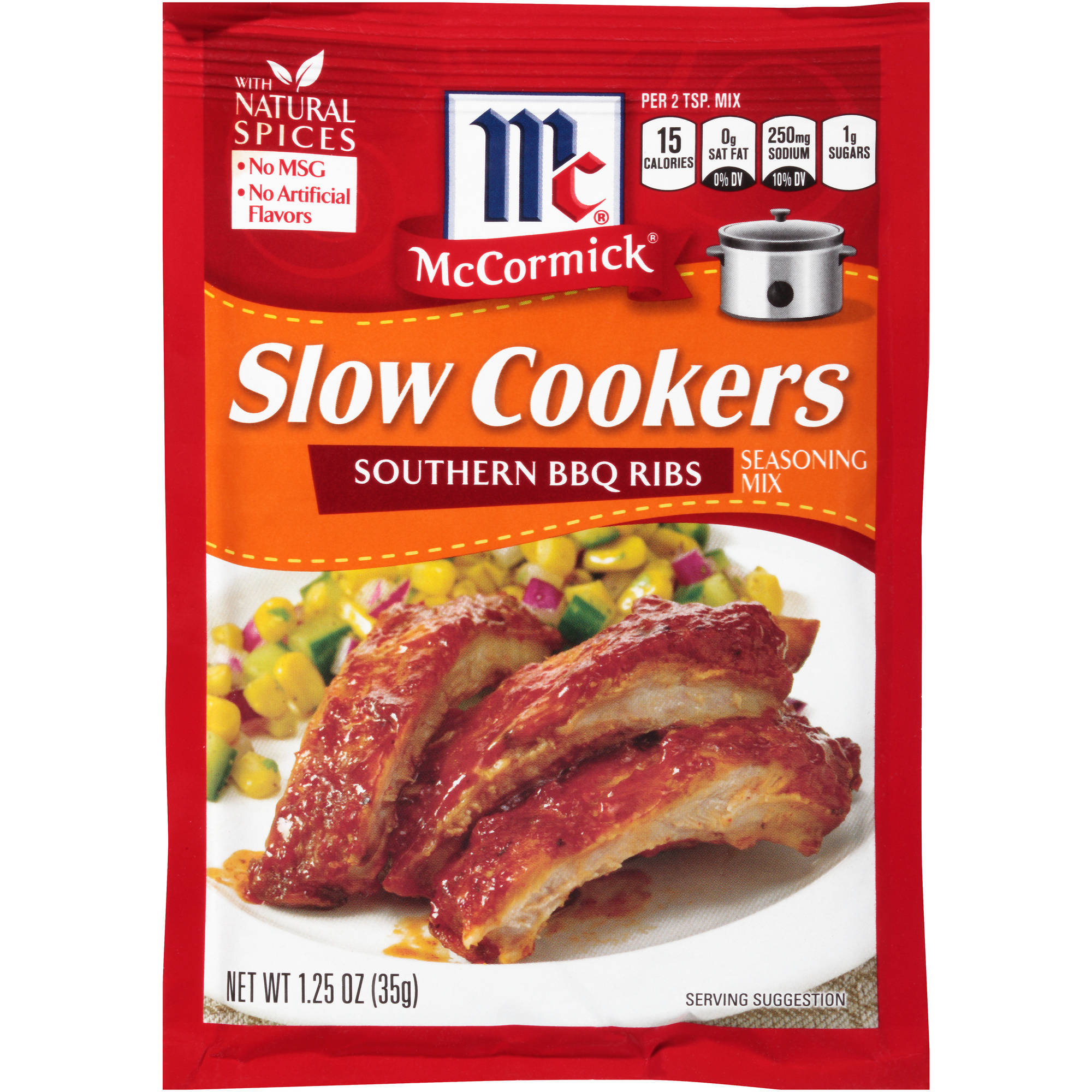 McCormick Slow Cookers Southern BBQ Ribs Seasoning Mix, 1.25 oz