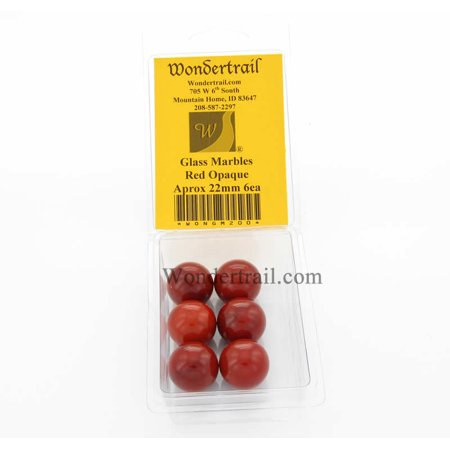 Red Opaque 22mm Glass Marbles Pack of 6 Wondertrail (Red Flat Marbles)