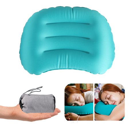 TSV Ultralight Inflating Travel Camping Pillows Compressible, Compact, Inflatable, Ergonomic Pillow for Neck & Lumbar Support while Camp, Backpacking ()