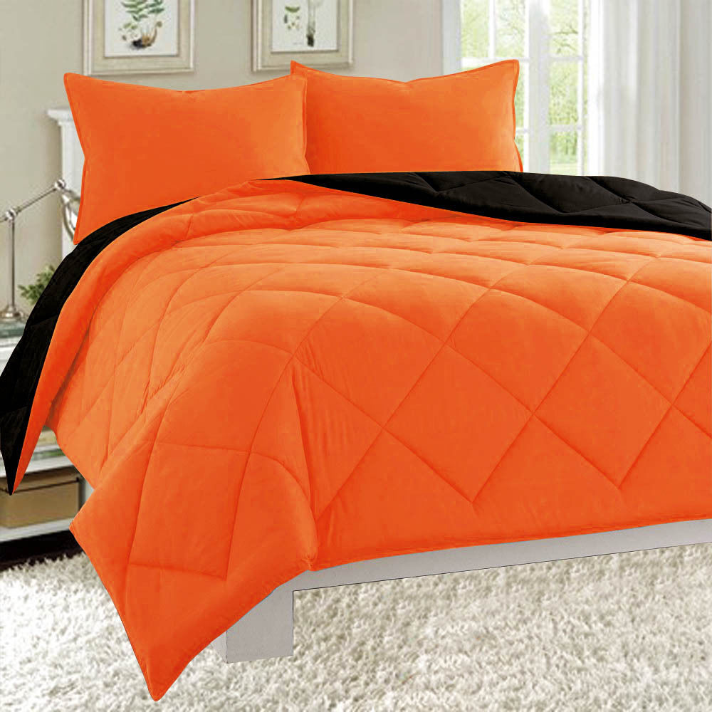 Dayton King Size 3-Piece Reversible Comforter Set Soft Brushed Microfiber Quilted Bed Cover Orange & Black