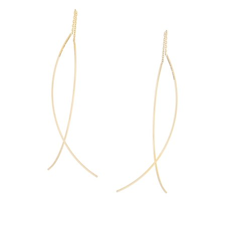 Front Back Curved Threader Chain and Wire Crossing Earrings 14k Yellow Gold