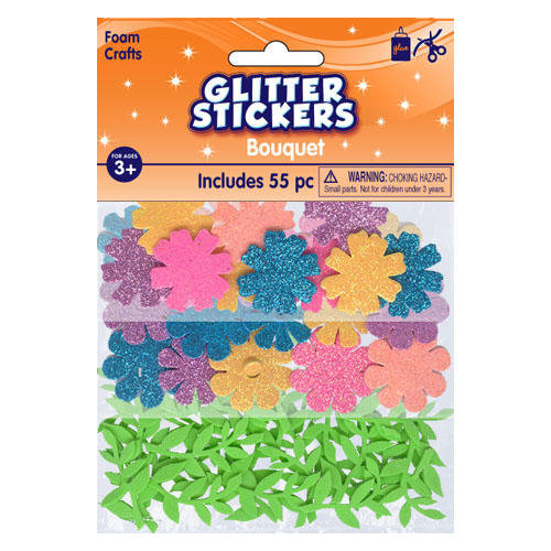 Foam Glitter Bouquet Stickers