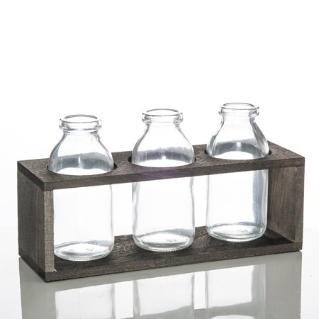 Richland Vintage Milk Bottle Vases With Wooden Stand Set of 6 ()