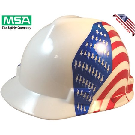 MSA USA Freedom Series Hard Hat with Dual American Flag on Both Sides - Staz On Suspension