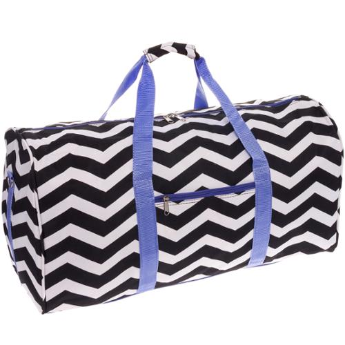 "SILVERHOOKS NEW Chevron 22"" Duffle Duffel Travel Carry-On Gym Bag w/ Purple Trim"