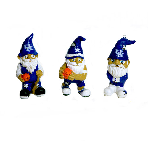 Forever Collectables NCAA Gnome Christmas Ornament Set, University of Kentucky Wildcats, 3pk