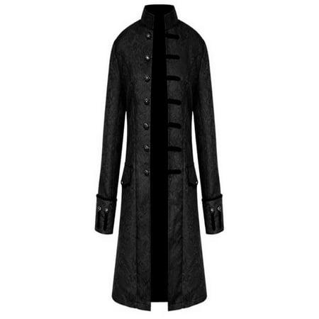 Mens Tailcoat (OkrayDirect Men Winter Warm Vintage Tailcoat Jacket Overcoat Outwear Buttons)