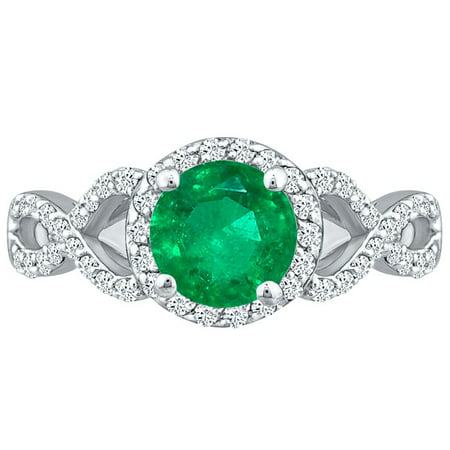 Emerald & Round Diamond 2.60 ct Infinity Twist Halo Ring Solid 10k White Gold