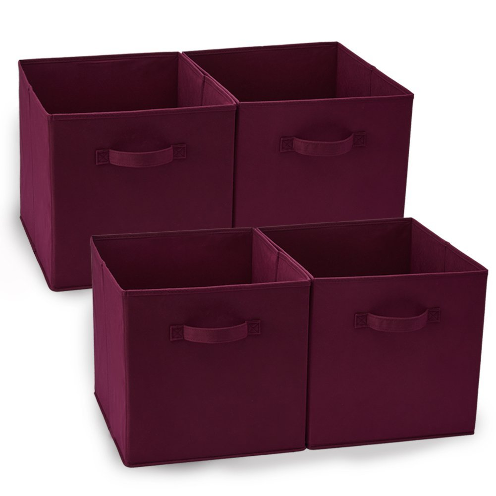 Set Of 4 Foldable Fabric Basket Bins, Collapsible Storage Cube For Nursery  Home And Office