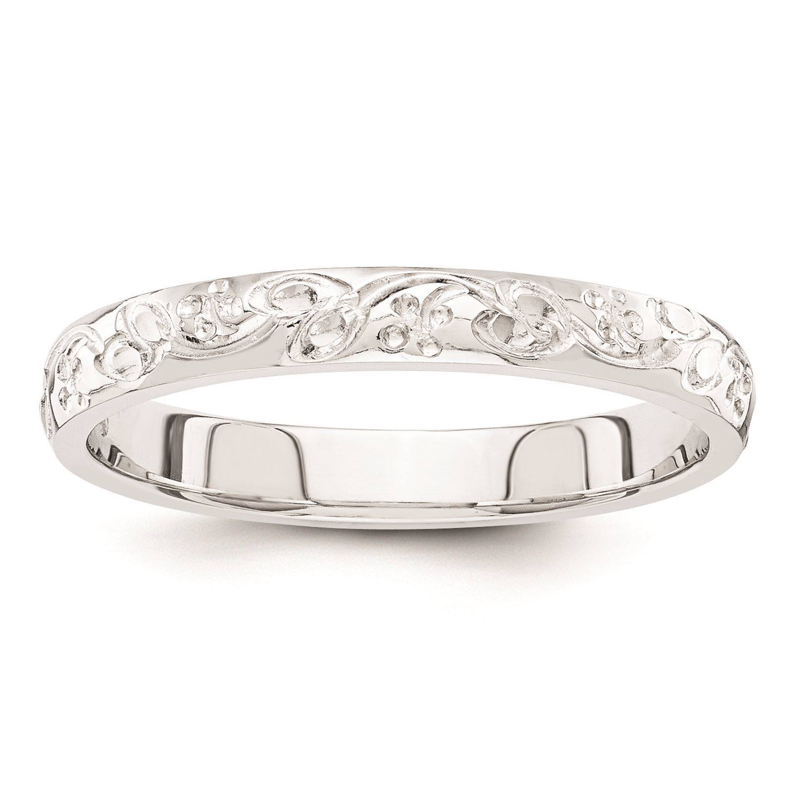 14K White Gold 3mm Polished Floral Etched Fancy Wedding Band Ring Size 8.5