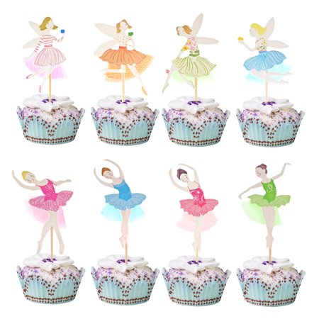 KingRing 48 Pcs Ballerina Fairy Cute Girls Cupcake Toppers Cupcake Sticks Dessert Toothpicks Food Flags Creative Cake Decoration for Baby Shower Kids Birthday Parties or Weddings - Halloween Themed Baby Shower Cupcakes