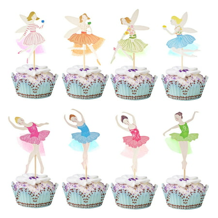KingRing 48 Pcs Ballerina Fairy Cute Girls Cupcake Toppers Cupcake Sticks Dessert Toothpicks Food Flags Creative Cake Decoration for Baby Shower Kids Birthday Parties or Weddings](Dallas Cowboys Baby Shower Cake)