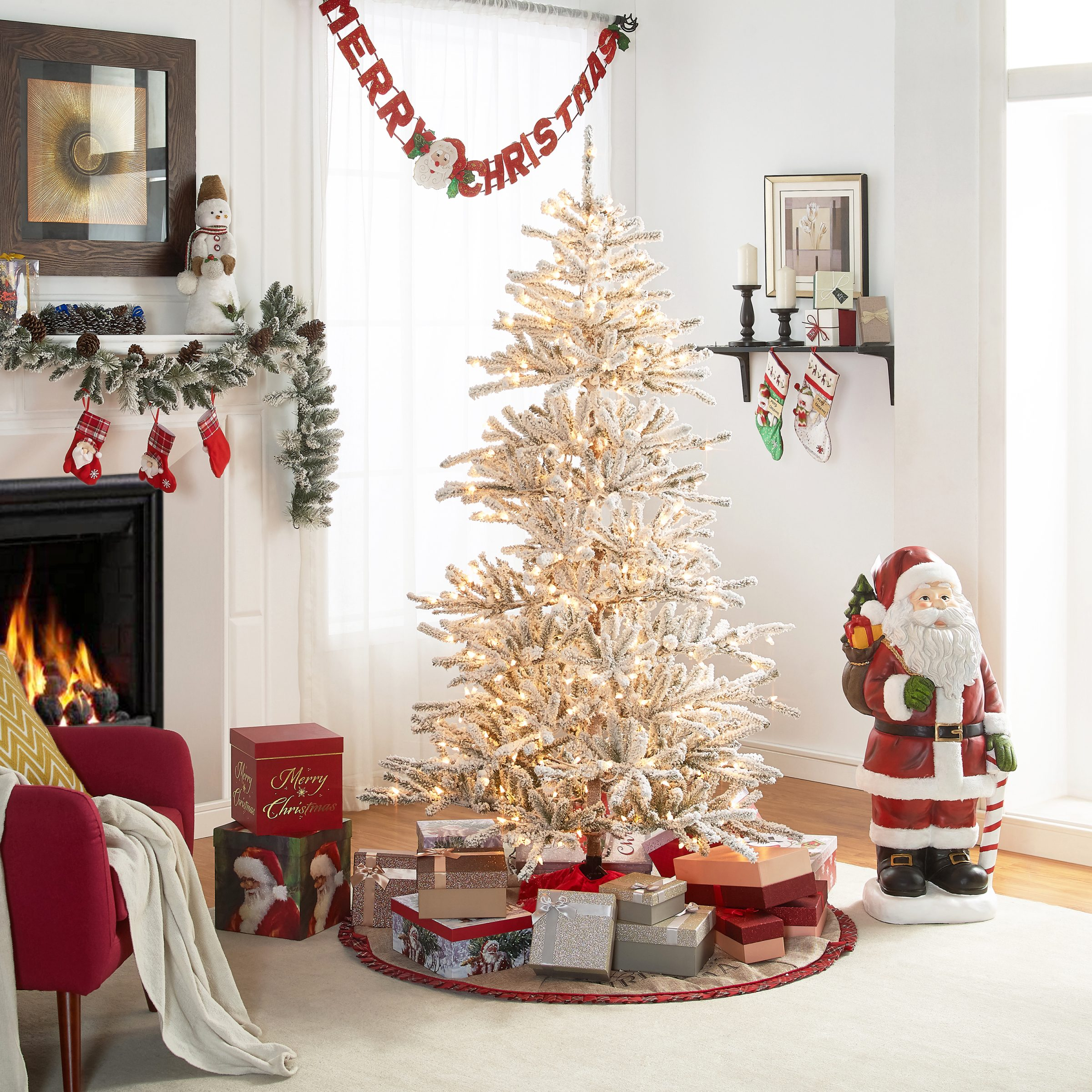 Holiday Time 6.5-Foot Norwegian Snowy Fir, 450 Lights and Metal Tree ...