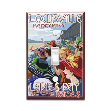Covers Horse Racing (Louisville, Kentucky - Ladies Day at the Track Horse Racing - Lantern Press Artwork (Light Switchplate)