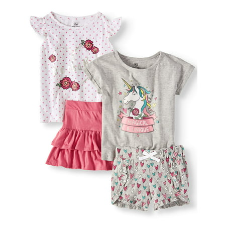 Unicorn Mix and Match, 4-Piece Outfit Set (Little Girls & Big - Girl 4 Piece Set