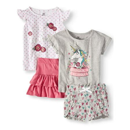 Unicorn Mix and Match, 4-Piece Outfit Set (Little Girls & Big Girls)