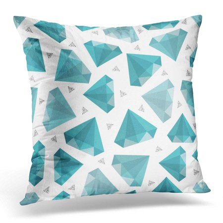 ECCOT Abstract Jewelry Pattern on Grey Stripe with Blue Diamond and Silver Glitter Bright Pillowcase Pillow Cover Cushion Case 20x20 inch (Gray Silver Pattern)