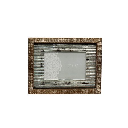 - Western Moments Photo Frame Distressed Rusted Tin Center Brown 94022