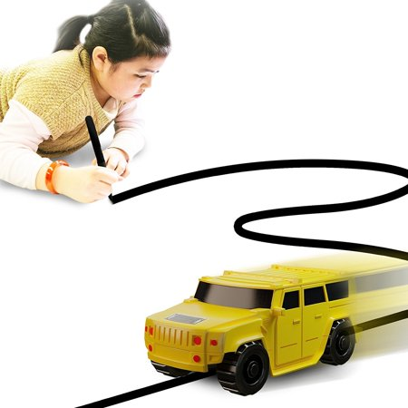 Generic Magic Inductive Car Truck Follows Black Line Magic Toy Car For Kids & Children - Best Mini Magic Pen Inductive Fangle Kids (Yellow