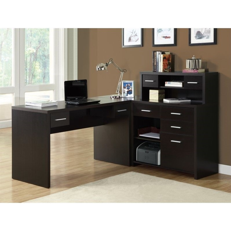 Monarch Cappuccino Hollow-Core L-Shaped Home Office Desk