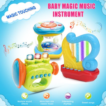 Grtsunsea 3D LED Light Sound Music Instruments Drum Harp Horn Toys Electric Toy Band Learning Toys Kids Children Baby Gift (Harpo Horn)