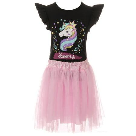 45cada086 Dreamer P - Little Girls 2 Pieces Skirt Set Unicorn T-Shirt Top Tutu Tulle Party  Skirt Set Black 3T S (P201489P) - Walmart.com