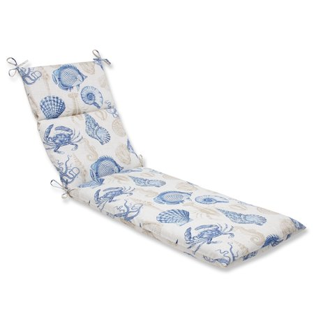 "72.5"" Barriera Corallina Blue and Tan Outdoor Patio Chaise Lounge Cushion"
