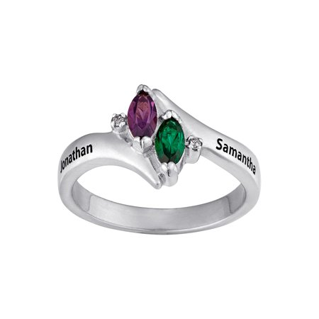 Personalized Sterling Silver Couple's Marquise Birthstone Name Ring with Diamond