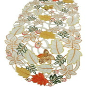 Xia Home Fashions Harvest Splendor Embroidered Cutwork Fall Table Runner